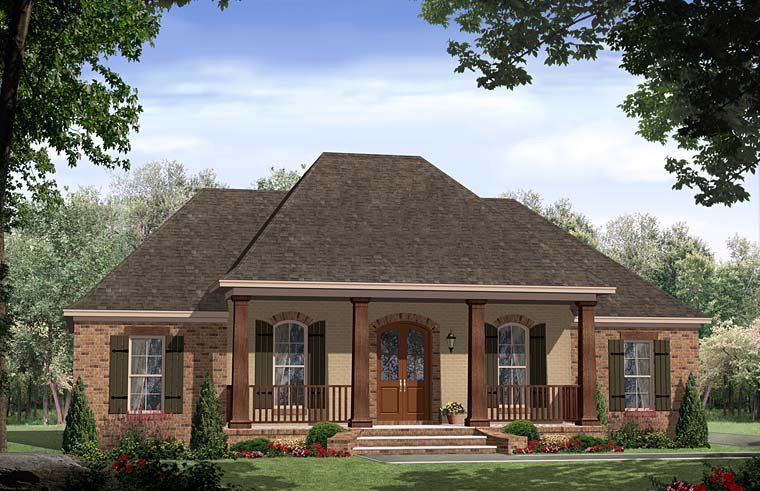 Cottage, Country, European, French Country, Ranch, Southern House Plan 59994 with 3 Beds, 3 Baths Elevation