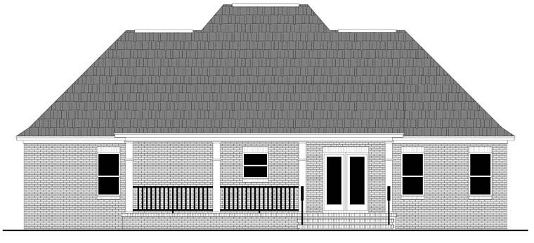 Cottage, Country, European, French Country, Ranch, Southern House Plan 59994 with 3 Beds, 3 Baths Rear Elevation