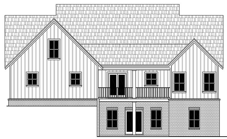 Country, Farmhouse, Ranch, Southern House Plan 59998 with 3 Beds, 3 Baths, 2 Car Garage Rear Elevation