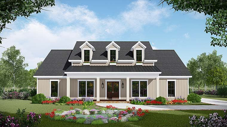 Country, Farmhouse, Southwest House Plan 59999 with 3 Beds, 3 Baths, 2 Car Garage Front Elevation