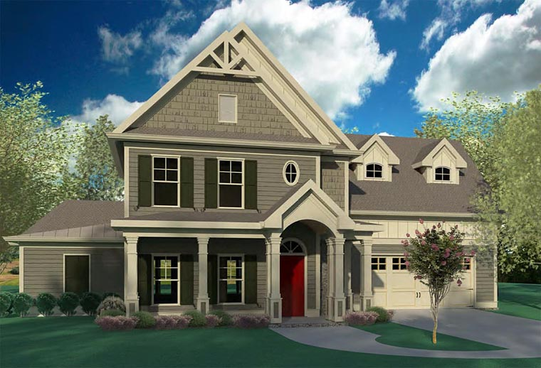 Bungalow, Cabin, Cottage, Craftsman, Traditional House Plan 60005 with 4 Beds, 4 Baths, 2 Car Garage Elevation