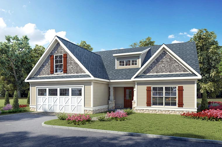 Country, Craftsman, Traditional House Plan 60011 with 3 Beds, 2 Baths, 2 Car Garage Front Elevation