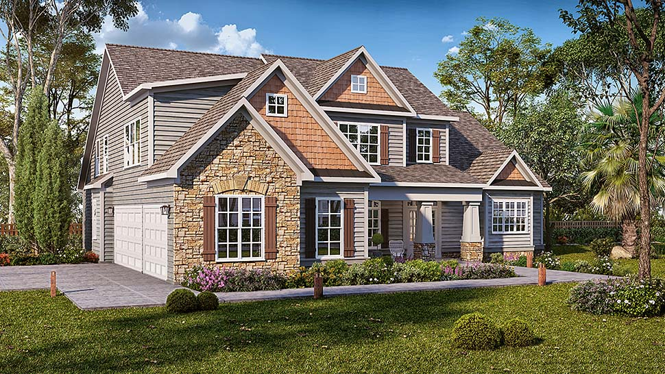 Cottage, Craftsman, Traditional House Plan 60046 with 4 Beds, 5 Baths, 3 Car Garage Elevation