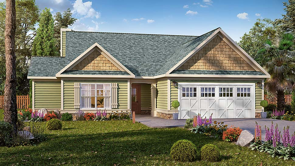 Craftsman, Ranch, Traditional House Plan 60060 with 3 Beds, 3 Baths, 2 Car Garage Elevation