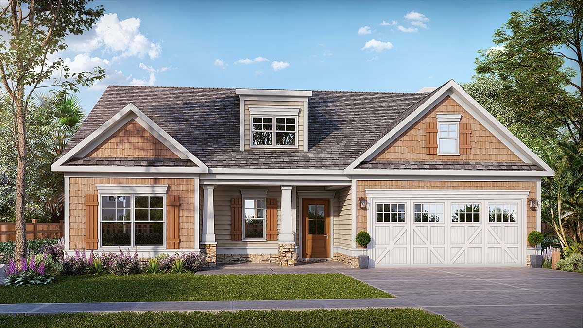 Bungalow, Craftsman House Plan 60071 with 3 Beds, 3 Baths, 2 Car Garage Front Elevation