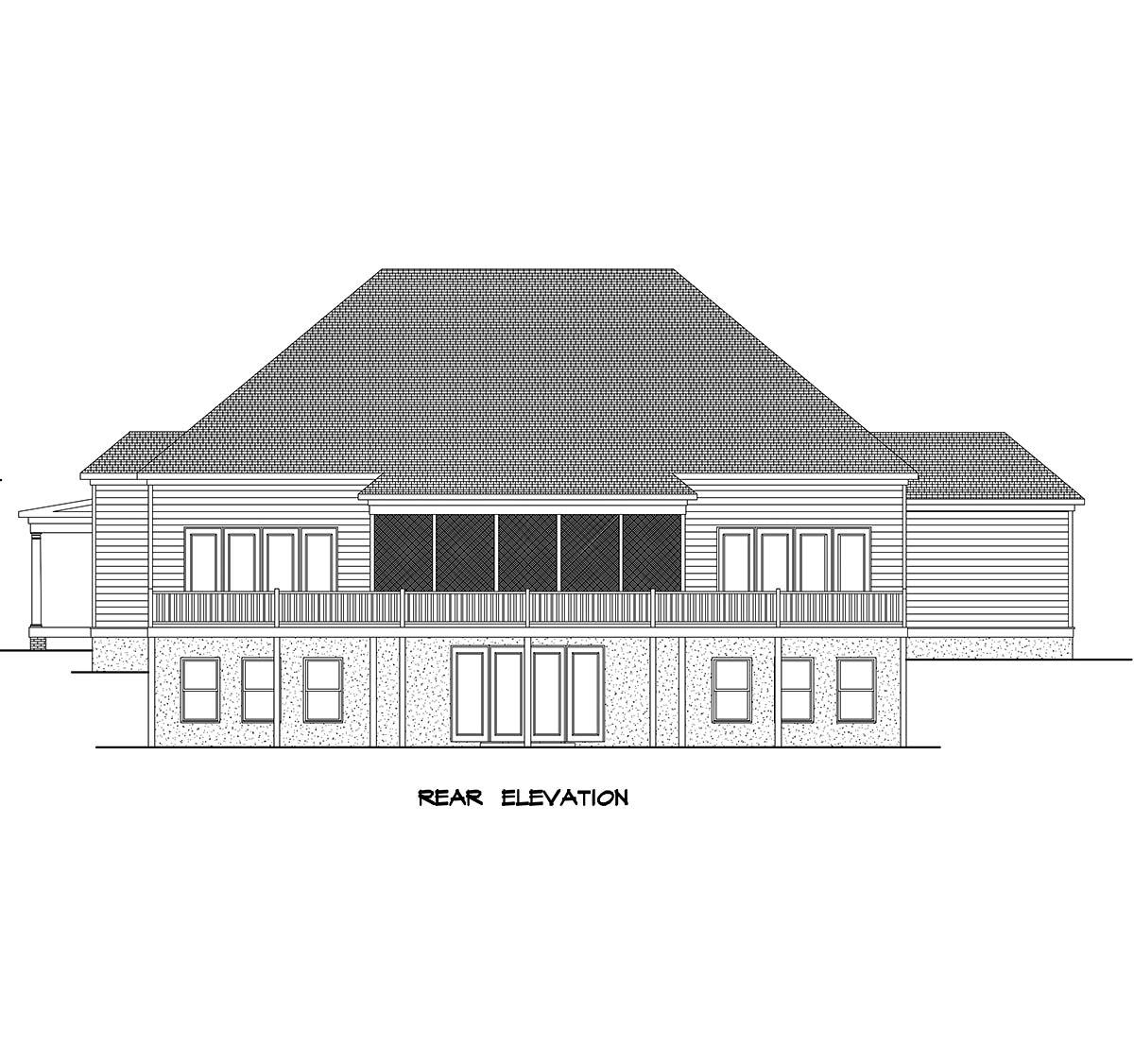 Farmhouse House Plan 60076 with 4 Beds, 4 Baths, 3 Car Garage Rear Elevation