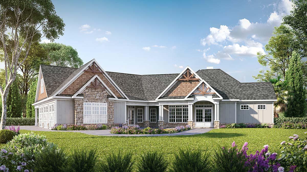 Craftsman House Plan 60077 with 4 Beds, 4 Baths, 3 Car Garage Front Elevation