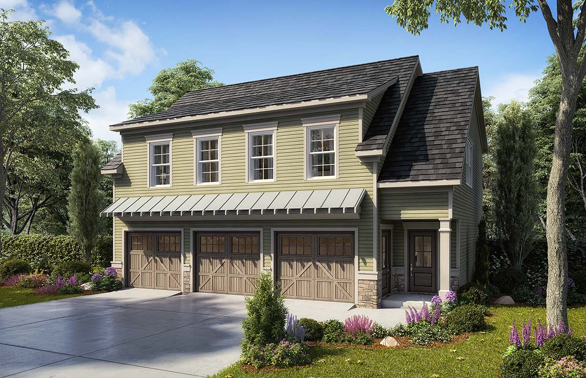 Country, Craftsman, Traditional 3 Car Garage Apartment Plan 60079 with 2 Beds, 3 Baths Front Elevation