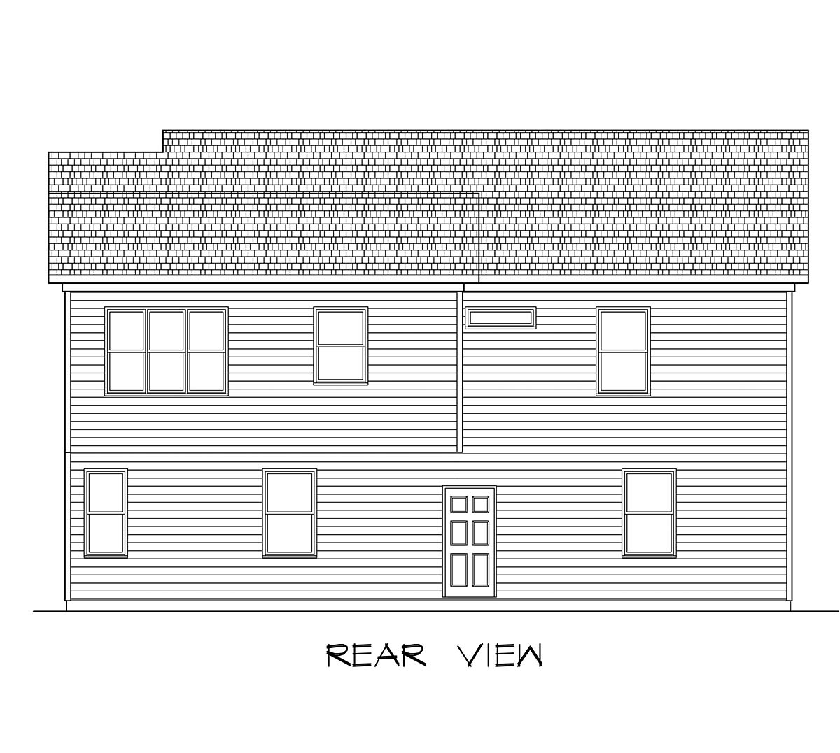 Country, Craftsman, Traditional 3 Car Garage Apartment Plan 60079 with 2 Beds, 3 Baths Rear Elevation