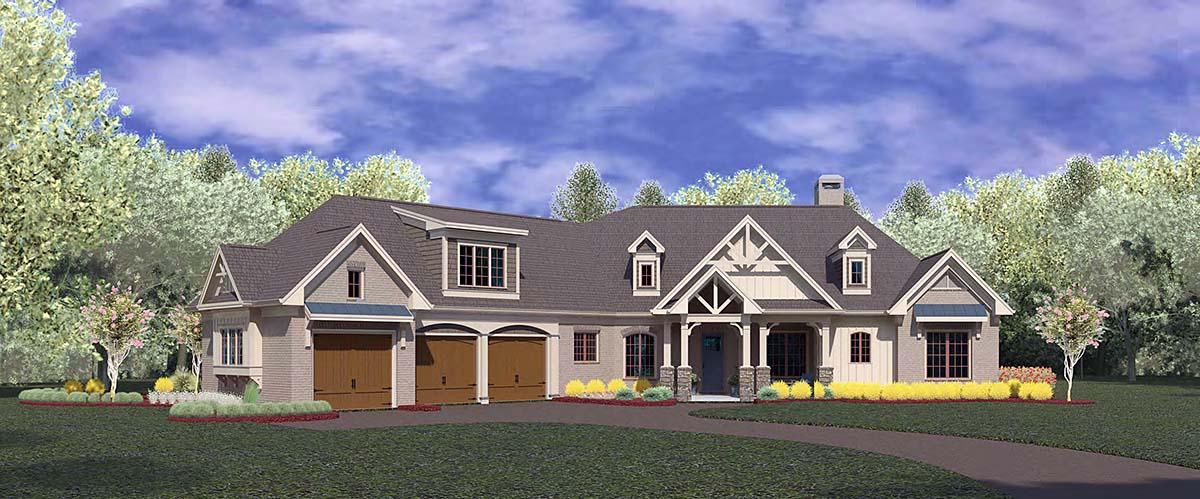 Craftsman, Ranch House Plan 60084 with 4 Beds, 4 Baths, 3 Car Garage Elevation