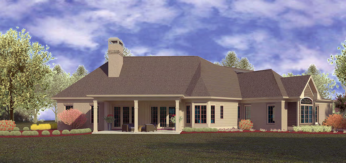 Craftsman, Ranch House Plan 60084 with 4 Beds, 4 Baths, 3 Car Garage Rear Elevation