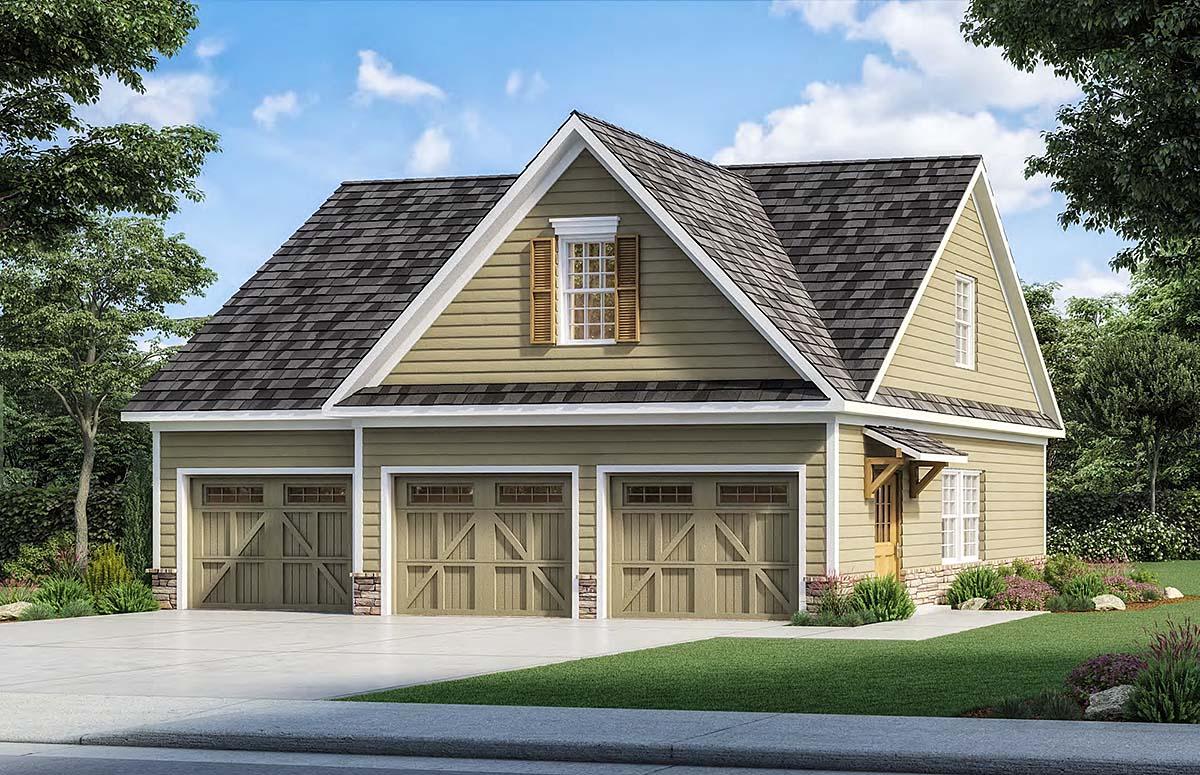 Craftsman 3 Car Garage Plan 60091 Elevation