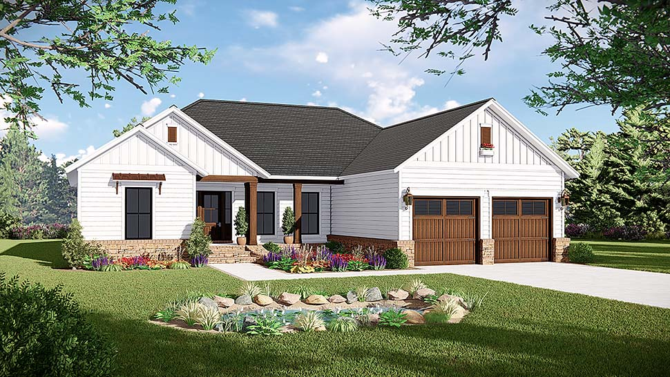 Country, Farmhouse, Ranch, Traditional House Plan 60105 with 3 Beds, 2 Baths, 2 Car Garage Front Elevation