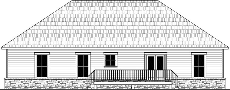 Country, Farmhouse, Ranch, Traditional House Plan 60105 with 3 Beds, 2 Baths, 2 Car Garage Rear Elevation