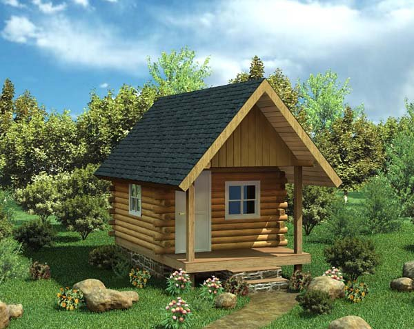 Cabin, Log House Plan 6024 with 1 Beds Front Elevation