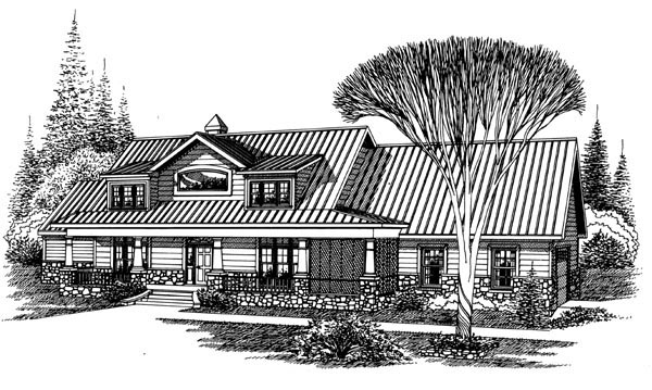 Ranch House Plan 60287 with 4 Beds, 4 Baths, 2 Car Garage Elevation