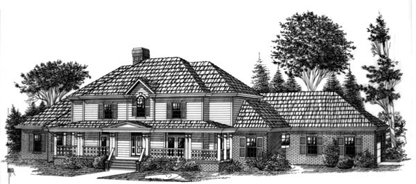 Colonial House Plan 60343 with 5 Beds, 5 Baths, 2 Car Garage Elevation