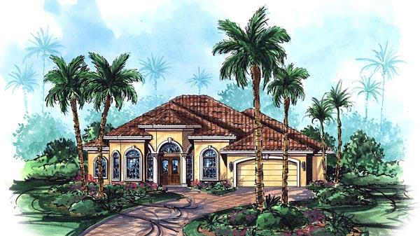 Florida, Mediterranean House Plan 60404 with 3 Beds, 3 Baths, 2 Car Garage Elevation