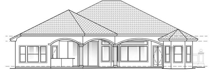 Florida, Mediterranean House Plan 60404 with 3 Beds, 3 Baths, 2 Car Garage Rear Elevation