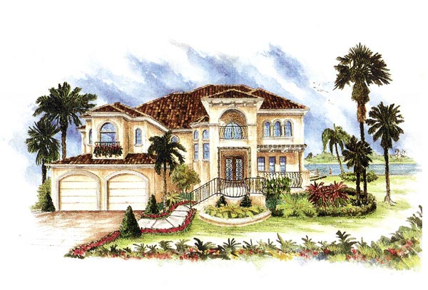 Florida, Italian, Mediterranean House Plan 60426 with 4 Beds, 4 Baths, 3 Car Garage Front Elevation