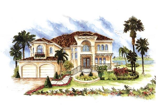 Florida, Italian, Mediterranean House Plan 60426 with 4 Beds, 4 Baths, 3 Car Garage Elevation