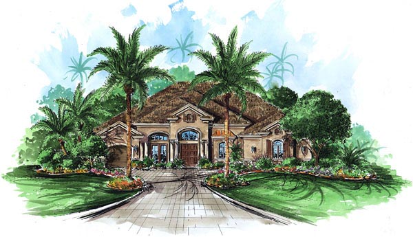 Florida, Mediterranean House Plan 60447 with 4 Beds, 4 Baths, 3 Car Garage Front Elevation