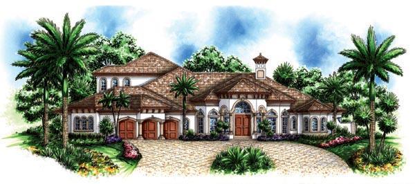 Florida, Mediterranean House Plan 60464 with 5 Beds, 6 Baths, 3 Car Garage Elevation