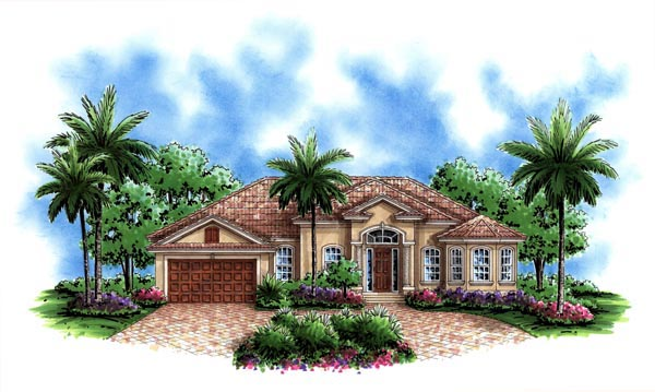 Florida, Mediterranean House Plan 60497 with 3 Beds, 3 Baths, 2 Car Garage Elevation