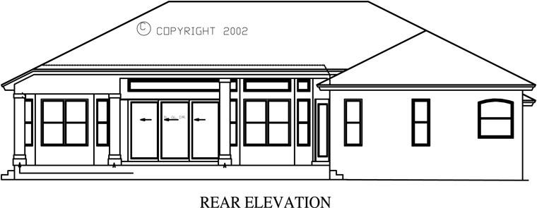 Florida, Mediterranean House Plan 60497 with 3 Beds, 3 Baths, 2 Car Garage Rear Elevation