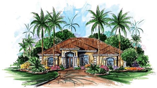 Florida, Mediterranean House Plan 60505 with 3 Beds, 3 Baths, 2 Car Garage Elevation