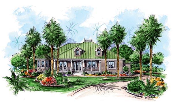 Florida, Mediterranean House Plan 60509 with 3 Beds, 4 Baths, 1 Car Garage Elevation