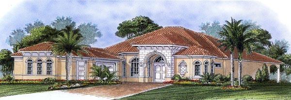Florida, Mediterranean House Plan 60518 with 3 Beds, 4 Baths, 3 Car Garage Elevation