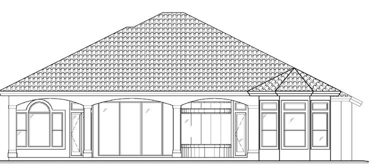 Florida, Mediterranean House Plan 60518 with 3 Beds, 4 Baths, 3 Car Garage Rear Elevation