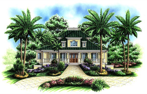 Florida, Mediterranean House Plan 60559 with 3 Beds, 5 Baths, 3 Car Garage Elevation