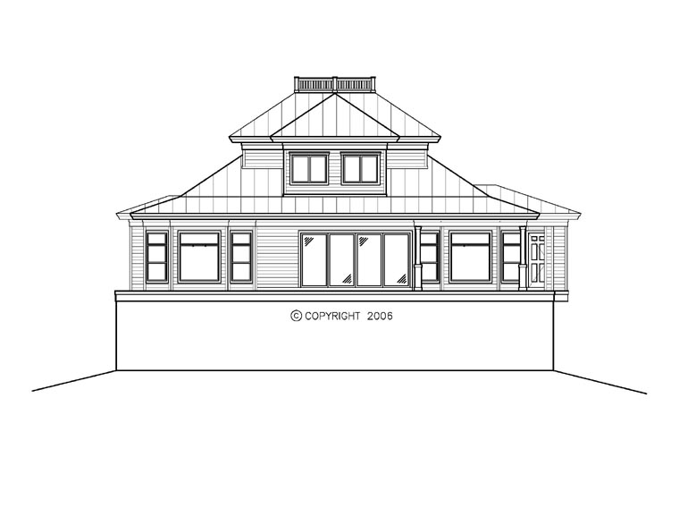 Florida, Mediterranean House Plan 60559 with 3 Beds, 5 Baths, 3 Car Garage Rear Elevation