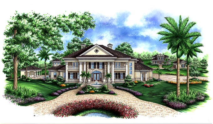 Southern House Plan 60587 with 5 Beds, 7 Baths, 3 Car Garage Elevation