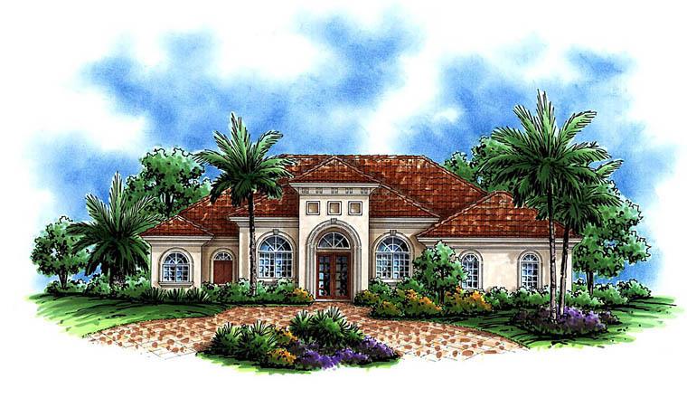 Mediterranean House Plan 60593 with 3 Beds, 6 Baths, 2 Car Garage Elevation