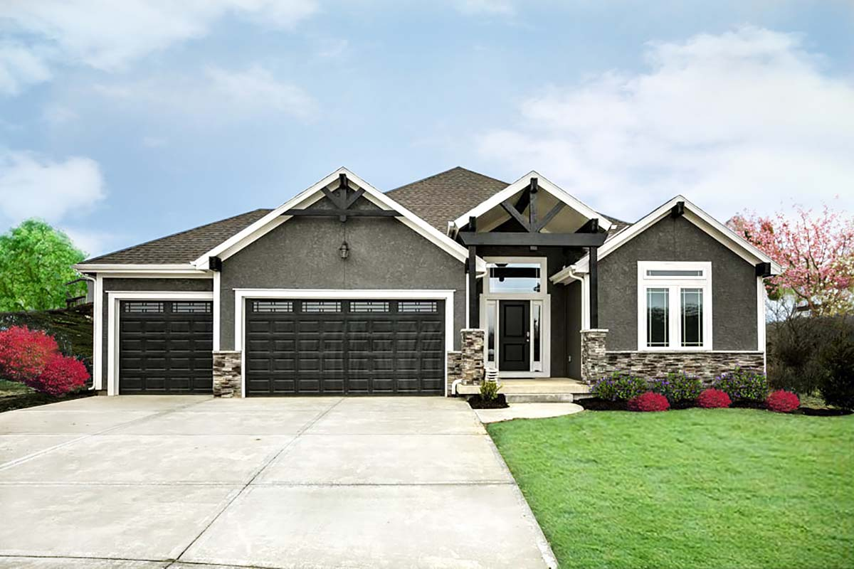 Traditional House Plan 60661 with 4 Beds, 3 Baths, 3 Car Garage Front Elevation