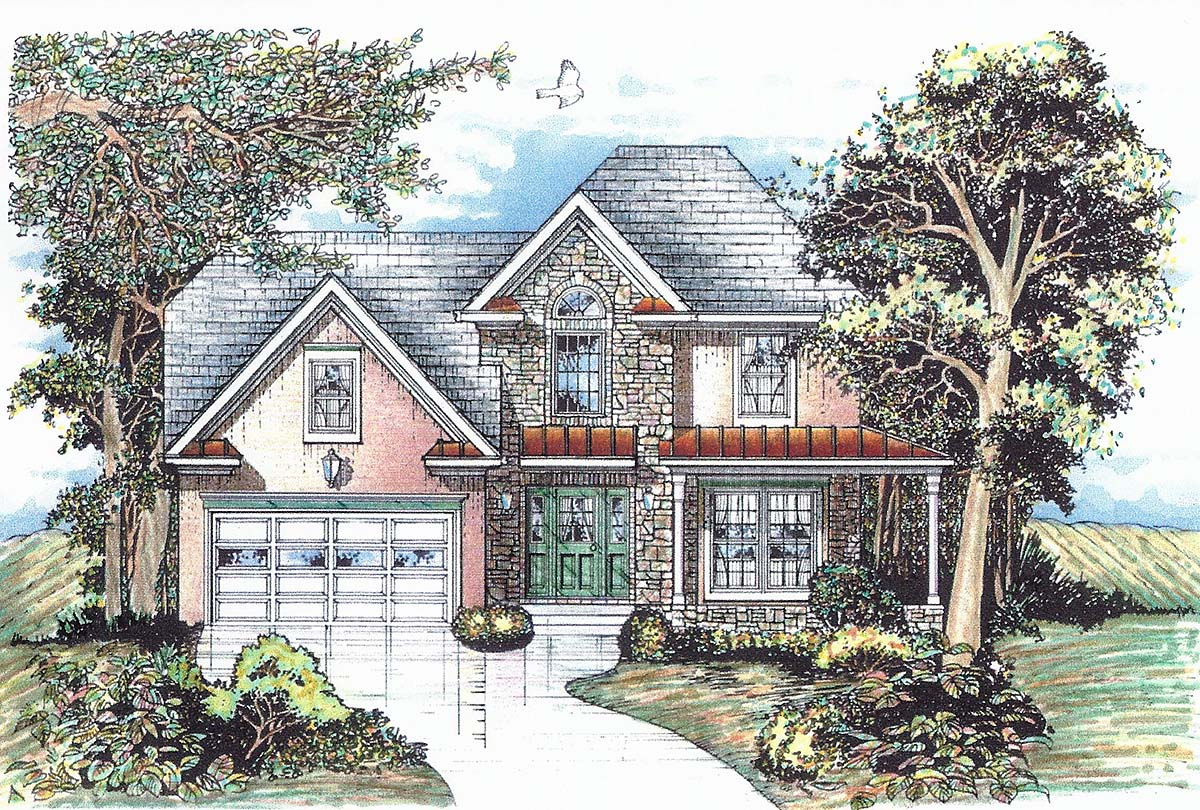 Traditional House Plan 60672 with 4 Beds, 4 Baths, 2 Car Garage Elevation