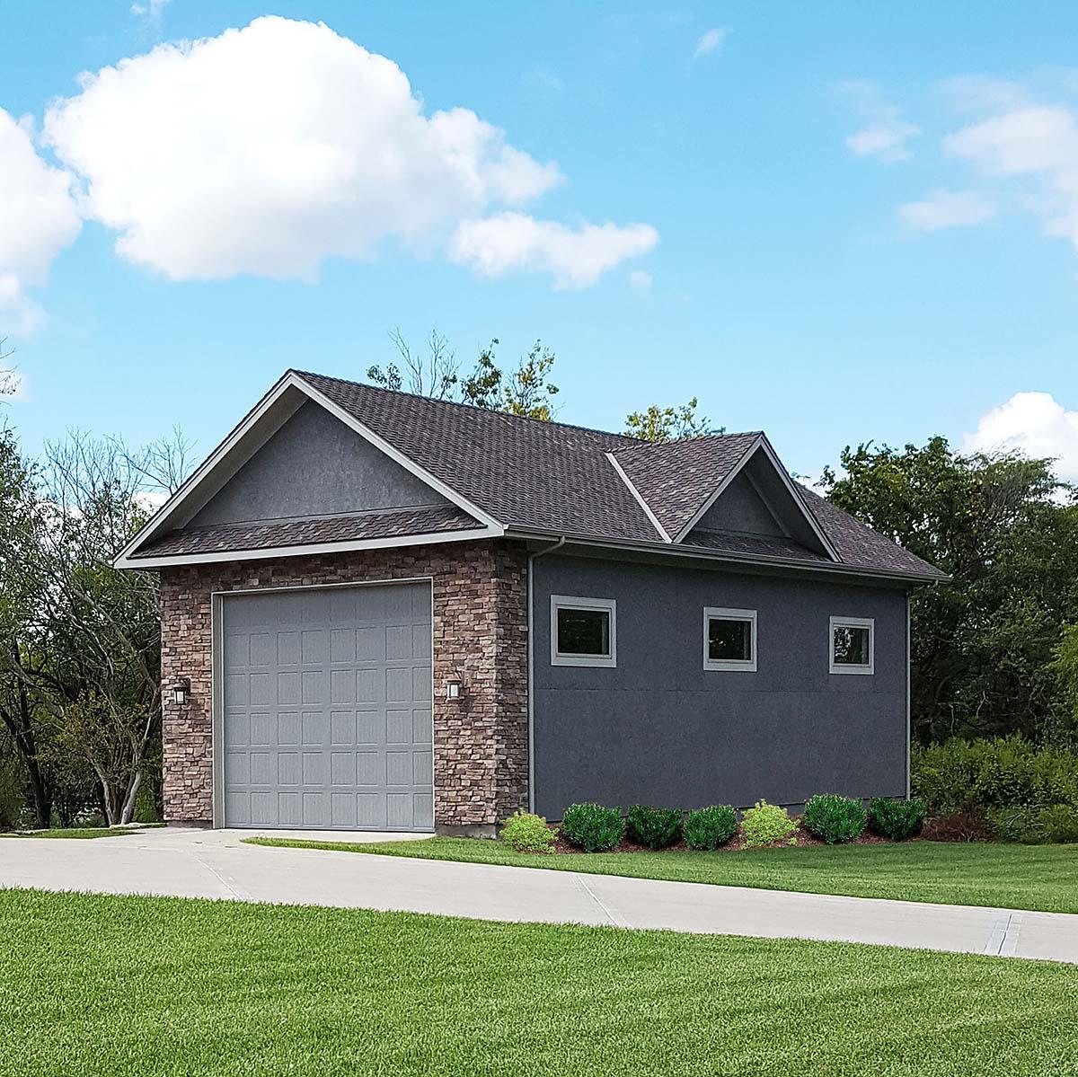 Traditional 1 Car Garage Plan 60676, RV Storage Elevation