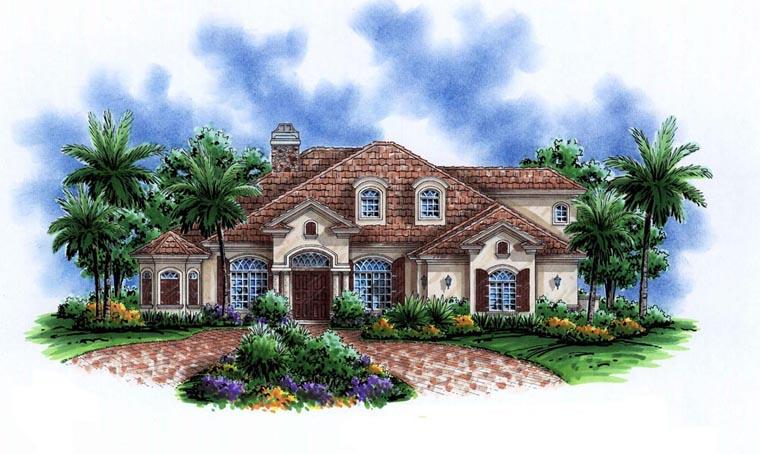 Florida, Mediterranean House Plan 60763 with 6 Beds, 4 Baths, 3 Car Garage Elevation