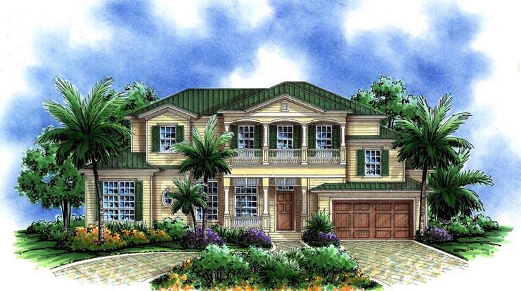 Florida, Mediterranean House Plan 60765 with 3 Beds, 4 Baths, 2 Car Garage Elevation