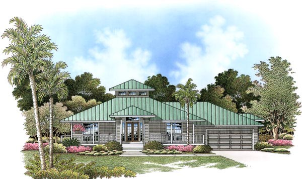 Florida House Plan 60772 with 3 Beds, 3 Baths, 2 Car Garage Elevation