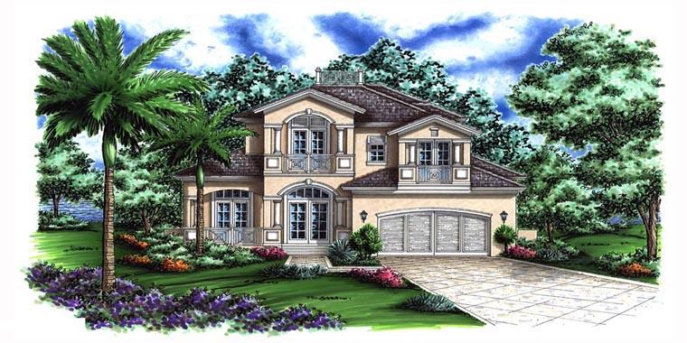 Florida, Mediterranean House Plan 60794 with 4 Beds, 6 Baths, 2 Car Garage Front Elevation
