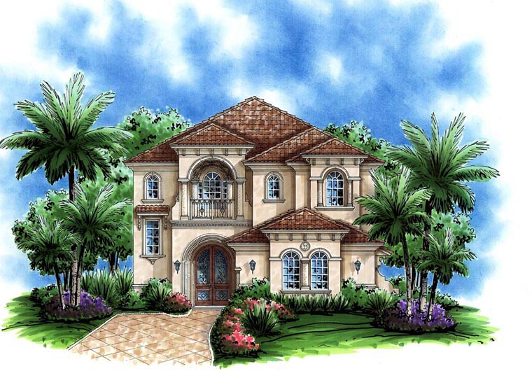 Florida, Mediterranean House Plan 60795 with 3 Beds, 4 Baths, 2 Car Garage Elevation
