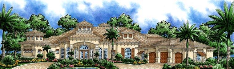 Florida, Mediterranean House Plan 60796 with 3 Beds, 5 Baths, 3 Car Garage Elevation