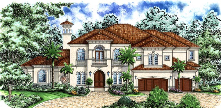 Florida, Mediterranean House Plan 60798 with 4 Beds, 6 Baths, 4 Car Garage Elevation