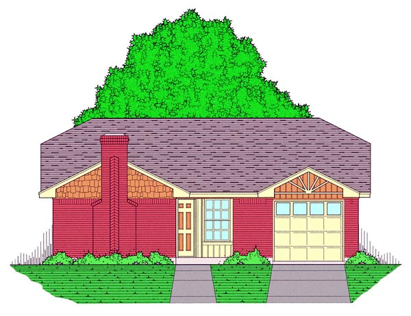 Country, Ranch, Traditional House Plan 60800 with 3 Beds, 2 Baths, 1 Car Garage Front Elevation