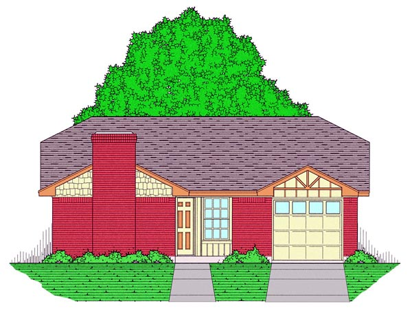 Country, Ranch, Traditional House Plan 60801 with 3 Beds, 2 Baths, 1 Car Garage Front Elevation
