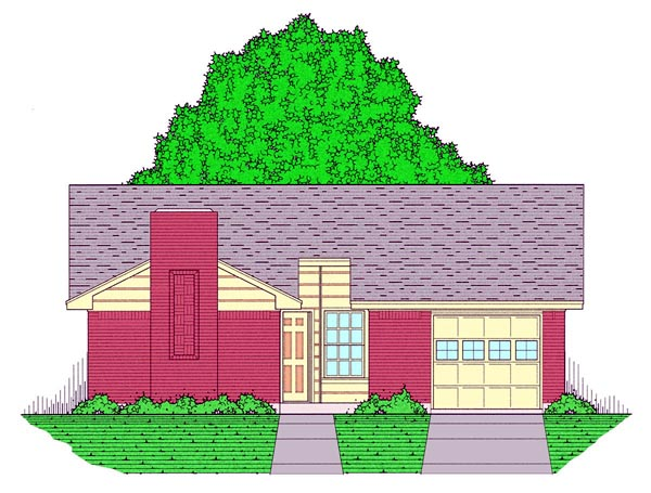 Country, Ranch, Traditional House Plan 60803 with 3 Beds, 2 Baths, 1 Car Garage Front Elevation